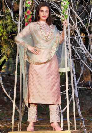 Embroidered Art Silk Pakistani Suit in Light Pink