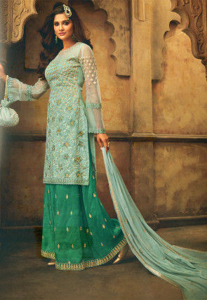 Embroidered Art Silk Pakistani Suit in Light Sea Green