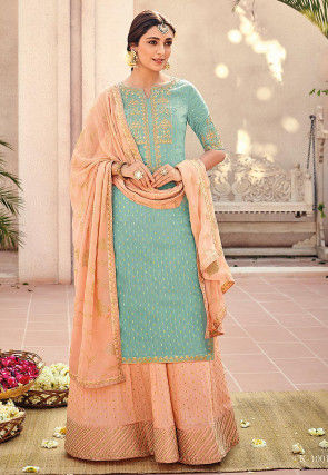 Embroidered Art Silk Pakistani Suit in Light Teal Green