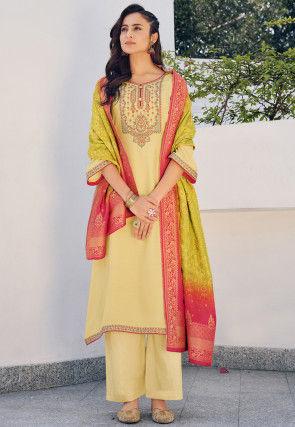 Embroidered Art Silk Pakistani Suit in Light Yellow