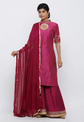 Embroidered Art Silk Pakistani Suit in Magenta