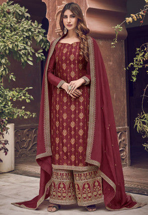Embroidered Art Silk Pakistani Suit in Maroon