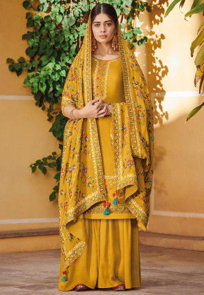 Embroidered Art Silk Pakistani Suit in Mustard