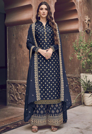 Embroidered Art Silk Pakistani Suit in Navy Blue