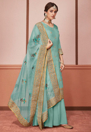 Embroidered Art Silk Pakistani Suit in Pastel Blue
