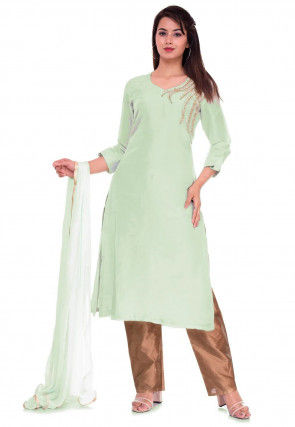 Embroidered Art Silk Pakistani Suit in Pastel Green