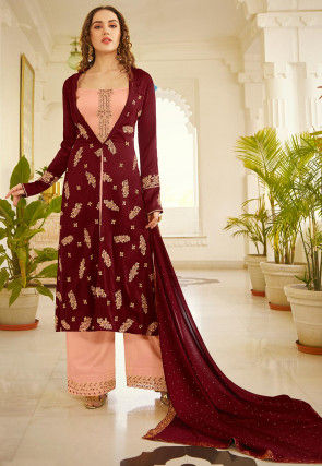 Embroidered Art Silk Pakistani Suit in Peach and Wine
