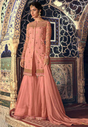 Embroidered Art Silk Pakistani Suit in Peach