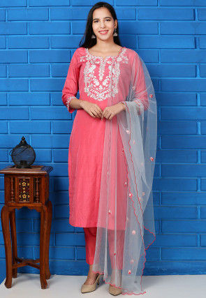 Embroidered Art Silk Pakistani Suit in Pink