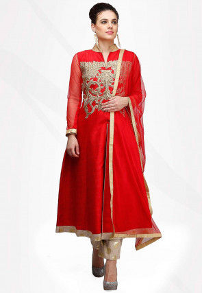 Embroidered Art Silk Pakistani Suit in Red