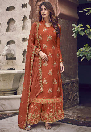 Embroidered Art Silk Pakistani Suit in Rust