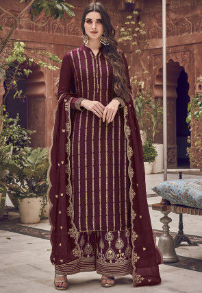 Embroidered Art Silk Pakistani Suit in Wine