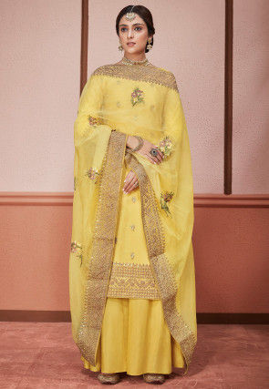 Embroidered Art Silk Pakistani Suit in Yellow