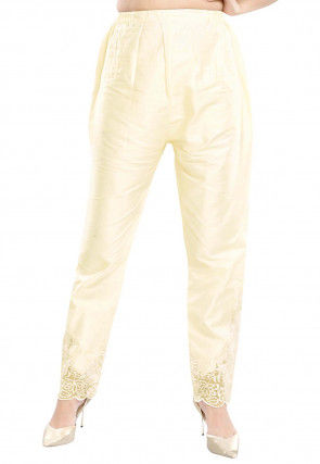 Embroidered Art Silk Pant in Light Beige