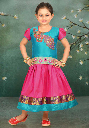 Embroidered Art Silk Pavda Set in Fuchsia and Teal Blue