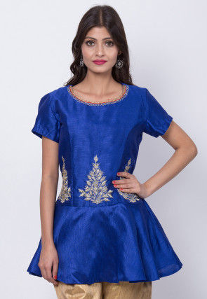 Embroidered Art Silk Pepelum Style Top in Royal Blue