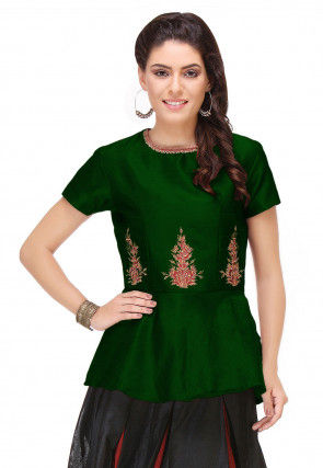Embroidered Art Silk Peplum Style Top in Dark Green