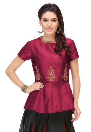 Embroidered Art Silk Peplum Style Top in Magenta