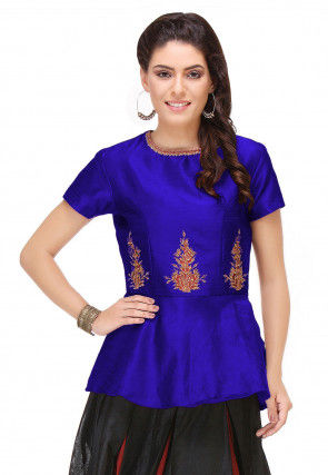Embroidered Art Silk Peplum Style Top in Royal Blue