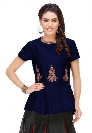 Embroidered Art Silk Peplum Top in Navy Blue