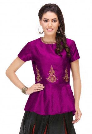 Embroidered Art Silk Peplum Top in Purple