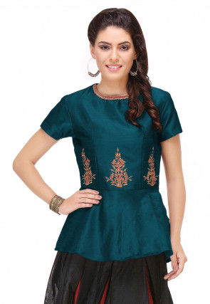 Embroidered Art Silk Peplum Top in Teal Blue