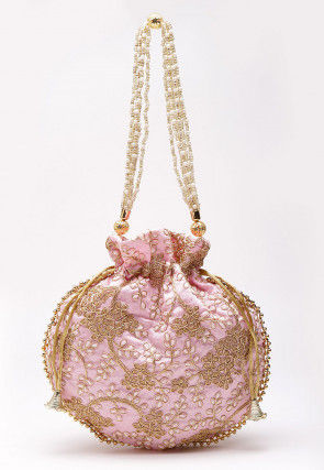 Embroidered Art Silk Polti Bag in Baby Pink