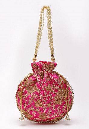 Embroidered Art Silk Polti Bag in Fuchsia