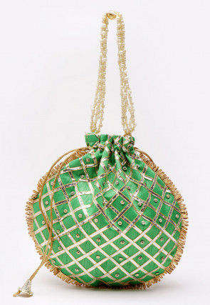 Embroidered Art Silk Polti Bag in Green