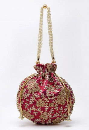 Embroidered Art Silk Polti Bag in Maroon