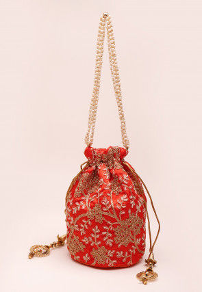 Embroidered Art Silk Polti Bag in Orange
