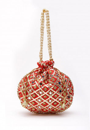 Embroidered Art Silk Polti Bag in Red