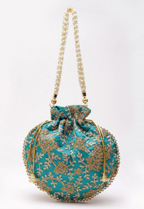 Embroidered Art Silk Polti Bag in Turquoise