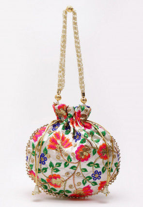 Embroidered Art Silk Polti Bag in White