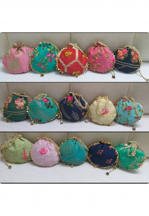 Embroidered Art Silk Potli Bag in Multicolor