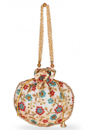Embroidered Art Silk Potli Bag in Off White and Multicolor