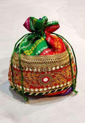 Embroidered Art Silk Potli Bag in Red and Green