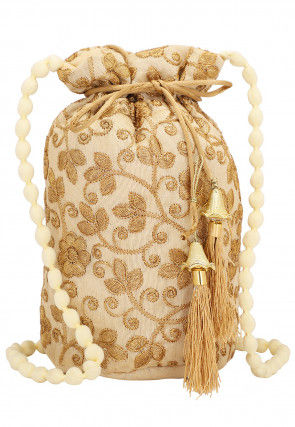 Embroidered Art Silk Potli Bag with Beaded Handle in Beige