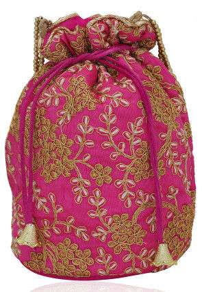 Embroidered Art Silk Potli Bag with Beaded Handle in Pink
