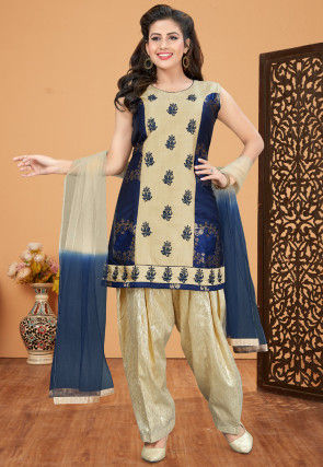 Embroidered Art Silk Punjabi Suit in Beige and Navy Blue