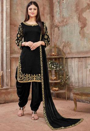 Embroidered Art Silk Punjabi Suit in Black