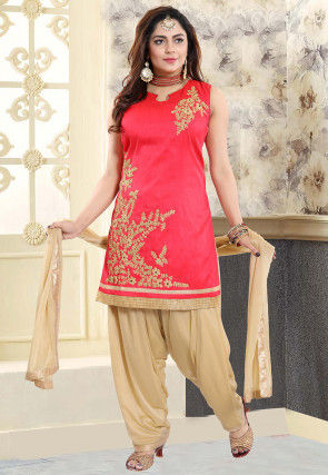 Embroidered Art Silk Punjabi Suit in Coral Pink