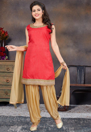 Embroidered Art Silk Punjabi Suit in Coral Red