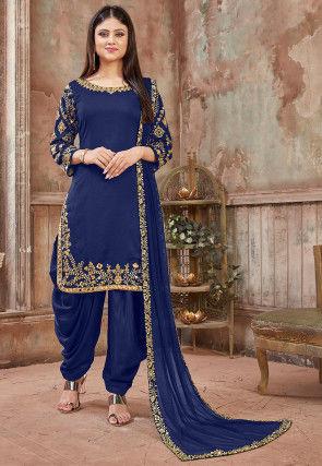 Embroidered Art Silk Punjabi Suit in Dark Blue