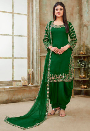 Embroidered Art Silk Punjabi Suit in Dark Green