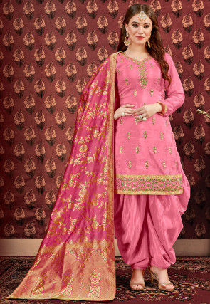 Embroidered Art Silk Punjabi Suit in Dark Pink