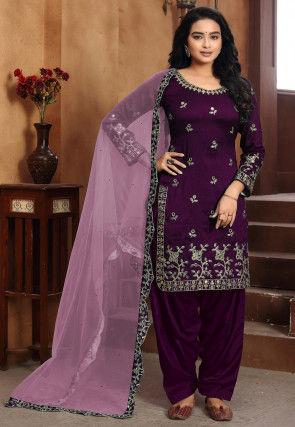 Embroidered Art Silk Punjabi Suit in Dark Purple
