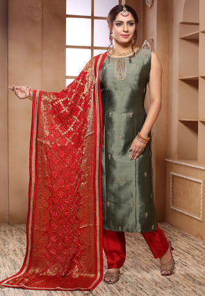 Embroidered Art Silk Punjabi Suit in Dusty Green