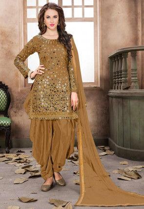 Embroidered Art Silk Punjabi Suit in Light Beige