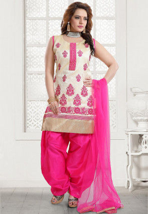 Embroidered Art Silk Punjabi Suit in Light Beige